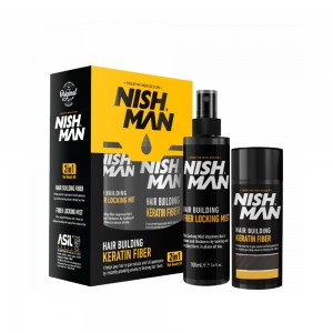 Nishman Hair Building Keratin Fiber 20g +100ml Medium Brown